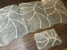 ROMANY GYPSY WASHABLES NEW SETS OF 4PCS GREY/SILVER MATS XLARGE  100X140CM